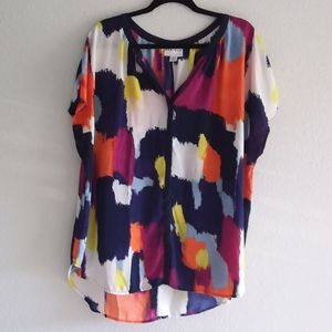 AVA & VIV  color abstract women's blouse size 2X